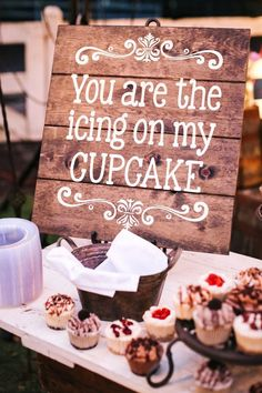 Great sign for a rustic wedding or engagement party. How cute is this?