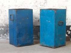 Blue Industrial Metal Storage Tin  part of Scaramanga's Industrial furniture collection