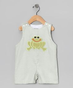Take a look at this Green Frog Shortalls - Infant & Toddler by Sew Childish on #zulily today!