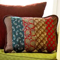 DIY pillow from old neck ties... I love this idea, especially using my dads or husbands old ties.