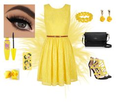 """Yellow dress"" by vanesamuftic ❤ liked on Polyvore featuring Yumi, ALDO, Kate Spade, Marc by Marc Jacobs, Oscar de la Renta, Maybelline, Dolce&Gabbana, women's clothing, women's fashion and women"