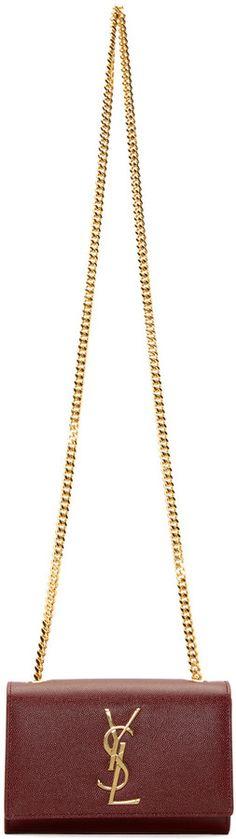 Saint Laurent Oxblood Small Monogram Chain Bag
