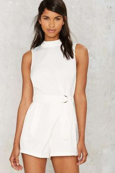 Glamorous Susana Mock Neck Romper - Clothes | Rompers + Jumpsuits | Summer Whites