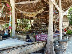 INSPIRATION  An exotic zanzibar beach bar, Tanzania.  Love the lime hammock!
