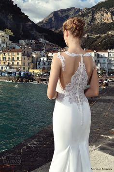 michal medina spring 2016 bridal illusion long sleeves bateau neckline lace collar sheath wedding dress mariah closeup back view