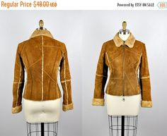 SALE Suede Leather Jacket with Faux Fur Lining by by ItaLaVintage
