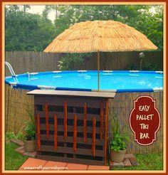 pallet bar, above ground pool decor, above ground pool, poolside bar
