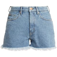 M.i.h Jeans Halsy high-rise denim shorts (520 PEN) ❤ liked on Polyvore featuring shorts, denim, high rise denim shorts, relaxed shorts, frayed shorts, frayed high waisted shorts and high-waisted denim shorts