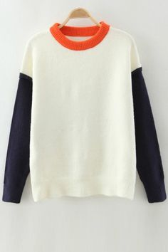 Round Neck Hit Color Jumper