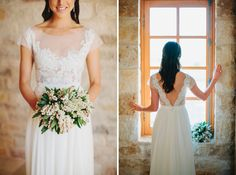 This bride's lace illusion neckline wedding dress is simply stunning