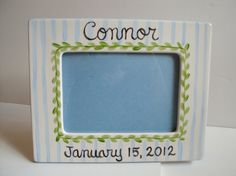 Personalized 5 x 7 Frame by CarolineCo on Etsy Happy Birthday Frame, Birthday Frames, Non Toxic Paint, Baby Boy Fashion, Ball Ornaments, Color Stripes, Christmas Balls, Picture Frames, Craft Supplies