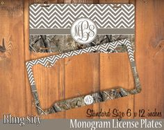 Brown Camo Chevron Monogram License Plate Frame Holder Metal Wall Sign Tags Personalized Custom Vanity