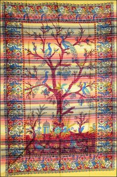 Autumn with Gold Lurex - Tree of Life - Tapestry www.trippystore.com/autumn_tree_of_life_striped_tapestry.html