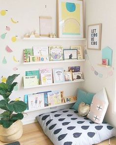 kid playroom design, kid playroom decor ideas, playroom organization for kid room, kid room decor, reading nook and book ledges in girl room Playroom Design, Kids Room Design, Playroom Ideas, Children Playroom, Toddler Bedroom Ideas, Playroom Decor, Baby Playroom, Children Reading, Kids Room Organization