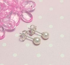 Childs Sterling & Pearl Earrings. Pearls available in 2 sizes. Every little girl needs pearls!