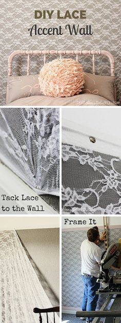 Check out the tutorial: #DIY Lace Accent Wall #crafts #decor K8's back wall maybe