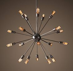 Sputnik Filament Chandelier Aged Steel Large | Chandeliers | Restoration Hardware
