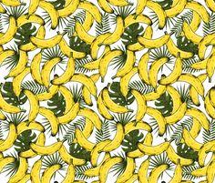 Tropical bananas custom fabric by adehoidar for sale on Spoonflower