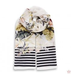 Flower Black Stripes Scarf  Cotton & Silk. Luxury high quality made in Italy by Fulards.com free shipping.