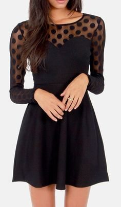 """Come on in; the """"Dot-ter"""" is fine! The In Hot Dot-ter Long Sleeve Black Dress boasts sheer mesh with perfect polka dots that covers long sleeves, decolletage, and a sexy back panel with a large open keyhole and top button closure."""