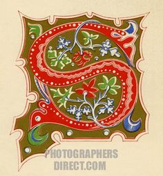 Illuminated Letters Art   Illuminated letter S . Red on a gold background . Fourteenth century ...