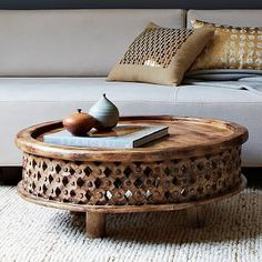 Carved Wood Coffee Table #westelm. Family liked this very much. It had a small side table option as well.