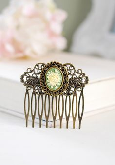Victorian Style Cameo Filigree Hair Comb Sage Green Ivory Rose Cameo Art Nouveau Hair Accessory Rustic Vintage Antique Brass Hair Comb by LeChaim on Etsy https://www.etsy.com/listing/241567677/victorian-style-cameo-filigree-hair-comb