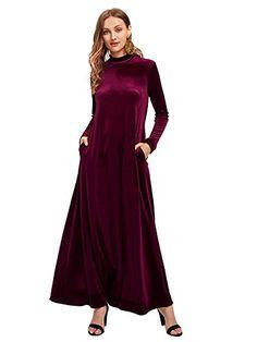 fe6d5ffcb3a SHEIN offers Mock Neck Pocket Side Velvet Kaftan Dress   more to fit your  fashionable needs. Kelly McDonald · black maxi