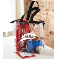 "The Pro - Stadium Tote with Zipper.  Clear PVC stadium tote with 20"" handles and #5 zipper on top. NFL stadium approved. 12"" w x 12"" h x 6"" gusset."
