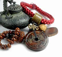 Antique sculpté Fortune pièces sculptées Amulette de Jade noir collier, pendentif 70 x 70 x 12 mm,