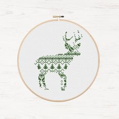 Nordic Pattern Christmas Reindeer Cross Stitch Pattern Printable Deer Instant Download PDF Scandinavian Modern Cross Stitch Holiday DIY Gift - pinned by pin4etsy.com