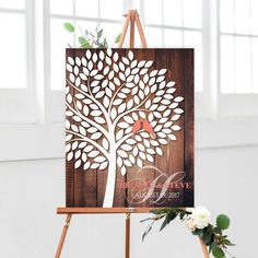 Rustic Wedding Guestbook, Signature Tree with Love birds, Wedding Signature Tree, Wooden Wedding Guest book Alternative