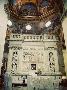 """Holy House of Loreto ~ The Marble Screen was commissioned by Julius II, who sent Donato Bramante to Loreto in 1507 to do """"great things"""" there, under the direction of Andrea Sansovino, Ranieri Nerucci & Antonio da Sangallo il Giovane. Statues of the Sybils & of the Prophets were inserted in their niches at a later period. The Screen consists of a podium with geometrical ornamentations, a series of lined columns in two sections, crowned by Corinthian capitals supporting a projecting cornice…"""