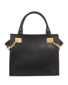 Chain Leather Shopper, Black by Sophie Hulme at Neiman Marcus.