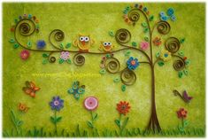 Owl and tree quilling Art Quilling, Origami And Quilling, Quilled Paper Art, Quilling Patterns, Quilling Cards, Quilling Designs, Quilling Ideas, Quilling Animals, Diy And Crafts