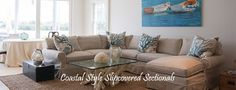 Slipcovered Sectional Sofas: White & Color Traditional Style Sofas