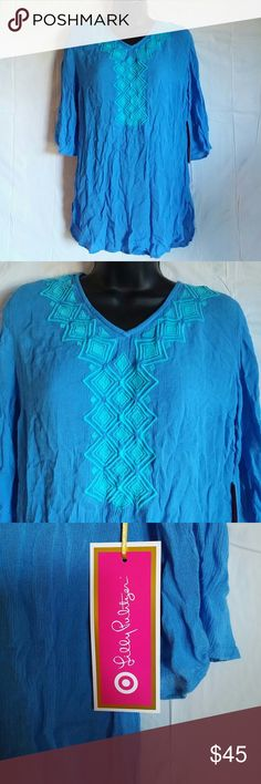 Lilly Pulitzer for Target Shirt Blouse Blue XS Brand new with tags  Aforable, loose top  100% rayon Lilly Pulitzer for Target Tops Blouses