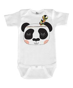 Another great find on #zulily! White Geometric Panda Face Bodysuit #zulilyfinds