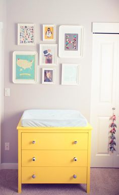 Changing Station in Baby H's completed room. Wall art from Etsy and DIY