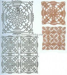 more motifs for the templates Crochet Motifs, Crochet Blocks, Crochet Diagram, Crochet Chart, Crochet Squares, Thread Crochet, Crochet Granny, Crochet Stitches, Crochet Patterns