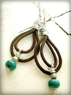 Boho Earrings  Boho Jewellery  Leather by HandcraftedYoga on Etsy, $35.00
