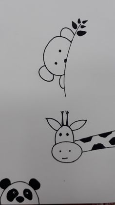 Easy Doodles Drawings, Cute Easy Drawings, Mini Drawings, Simple Doodles, Pencil Art Drawings, Art Drawings Sketches, Cartoon Drawings, Animal Drawings, Doodle Art