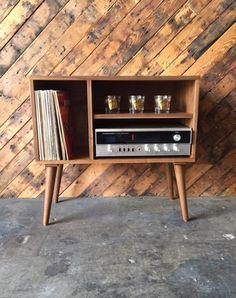 Mid Century Style Custom Bar Record Cabinet
