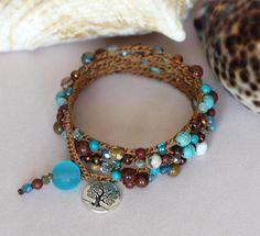 Beaded Crochet Multi Wrap Bracelet Brown and Blue Gemstone