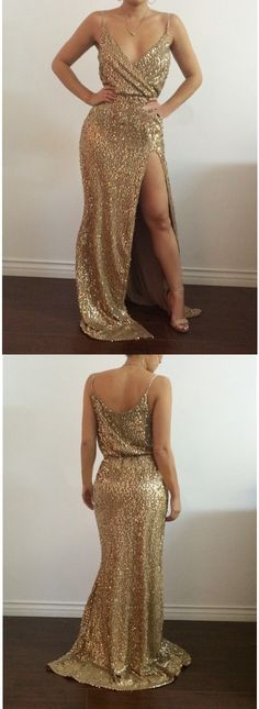 sparkly gold sequins prom dress, 2017 long prom dress with slit, slit prom dress, sexy evening dress party dress