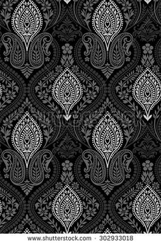 Find Seamless Black White Floral Wallpaper stock images in HD and millions of other royalty-free stock photos, illustrations and vectors in the Shutterstock collection. Thousands of new, high-quality pictures added every day. Textile Pattern Design, Surface Pattern Design, Textile Patterns, Textile Prints, Pattern Art, Print Patterns, Floral Prints, Paisley Pattern, Floral Print Wallpaper