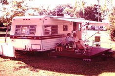 1982 Campground reunion,Jo in lounge chair, Frank and Mae Kent in a campground near Westfield NY,