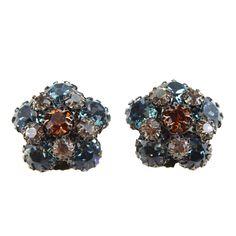 1950's Schreiner Floral Button Earrings