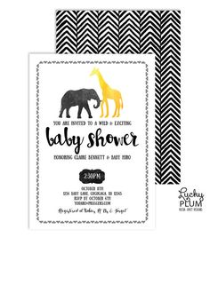 Safari Baby Shower Invitation // A modern updated version of the traditional animal safari baby shower theme. Decked with watercolor black and gold foil, this classy jungle inspired invitation will be loved by mom-to-be. All wild party animals are invited! // by LuckyPlumStudio