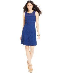 Spense Petite Illusion Lace A-Line Dress